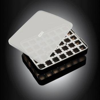 Lurch ijsblokjesvorm uit silicone kubus met deksel zwart 2x2cm