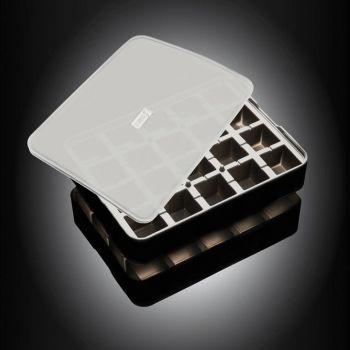 Lurch ijsblokjesvorm uit silicone kubus met deksel zwart 3x3cm