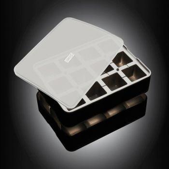Lurch ijsblokjesvorm uit silicone kubus met deksel zwart 4x4cm
