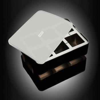 Lurch ijsblokjesvorm uit silicone kubus met deksel zwart 5x5cm