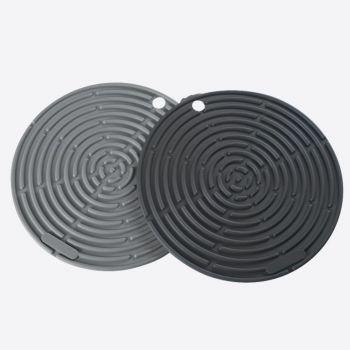 Lurch set van 2 panonderzetters/pannenlappen uit silicone grijs en zwart