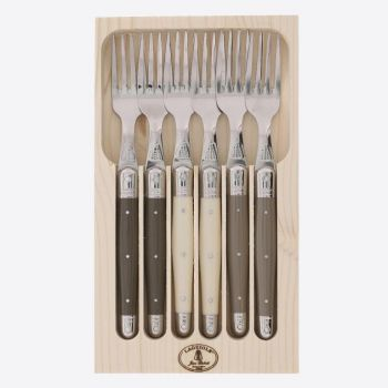 Jean Dubost set van 6 Laguiole vorken uit rvs peper; ivoor en taupe