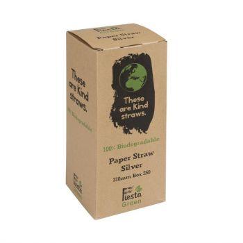 Fiesta Green biologisch afbreekbare papieren rietjes zilver