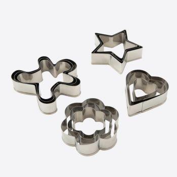 Dotz set van 3 uitsteekvormen uit rvs 6.5x5.5x2cm 4 ass. (48st./disp.)