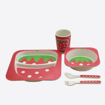 Dotz Kids set van bord; kom; beker en bestek uit bamboevezel Aardbei versie 2