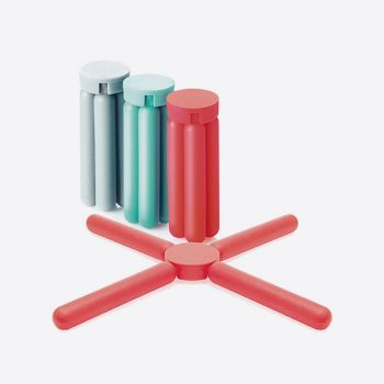 Dotz opvouwbare siliconen panonderzetter rood; grijs of aquablauw (15st./disp.)
