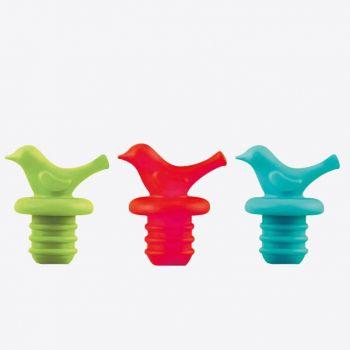 Dotz flessenstop uit silicone rood; groen of blauw (40st./disp.)