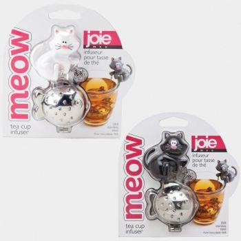 Joie Meow thee infuser uit rvs kat zwart of wit 9x6x4.5cm (12 ass.)
