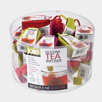 Joie thee infuser uit silicone theezakje groen; rood of paars 8.3x2x18.4cm (36st./disp.)