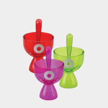 Joie Monster Fun ijscoupe met lepel paars; groen of rood 13.3x9.5x14.6cm (8 ass.)