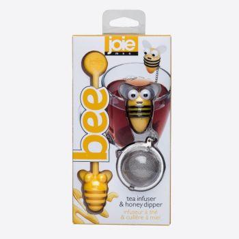 Joie Bee thee infuser uit rvs en honinglepel geel bij