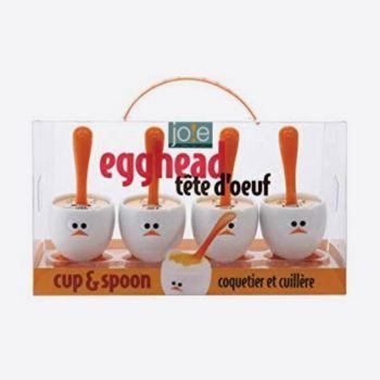 Joie Egghead set van 4 eierdopjes met lepel uit kunststof wit