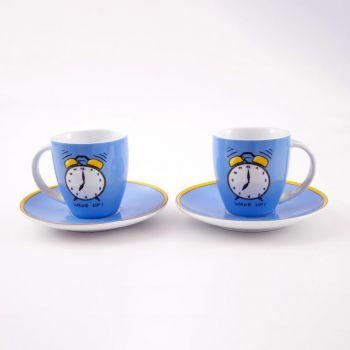 Könitz set van 2 koffiemokken met schotel voor Senseo 'Wake Up'