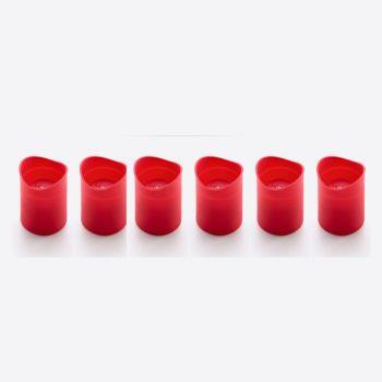 Lékué set van 8 bakvormen in de vorm van shotglas uit silicone rood Ø 5cm H 6.8cm