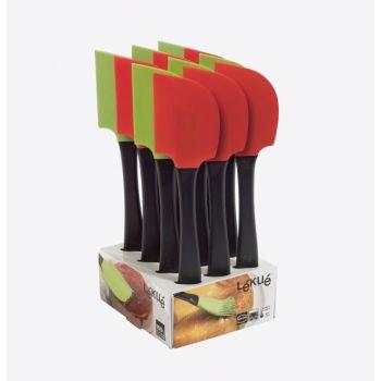Lékué spatel uit silicone en kunststof groen of rood 27.5cm (12st./disp.)