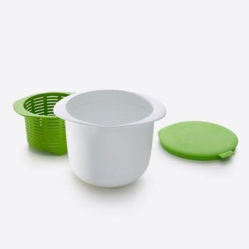 Lékué set om verse kaas te maken uit silicone en kunststof wit en groen 14.5x17x13cm