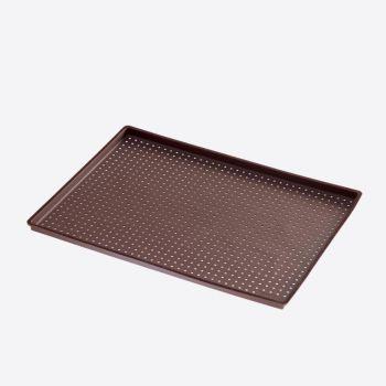 Lékué rechthoekige pizzavorm met gaatjes uit silicone bruin 40x30x0.2cm