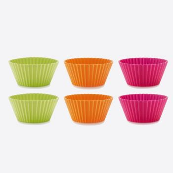 Lékué set van 6 geribde muffinvormen uit silicone oranje; roze en groen Ø 7cm H 3.5cm