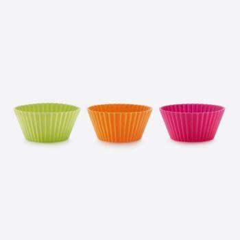Lékué set van 12 geribde muffinvormen uit silicone roze; oranje en groen Ø 7cm H 3.5cm