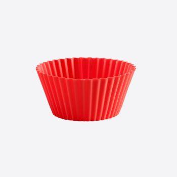 Lékué set van 12 geribde muffinvormen uit silicone rood Ø 7cm H 3.5cm
