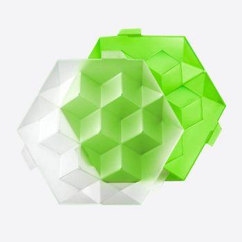 Lékué zeshoekige ijsblokjesvorm met deksel voor 7 ijsblokken groen 24.5x22x7.5cm