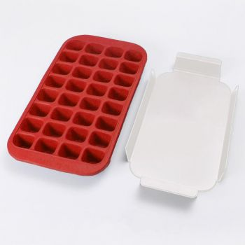 Lékué ijsblokjesvorm uit rubber met dienblad voor 32 ijsblokken rood 33.5x18x3.3cm
