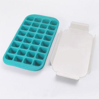Lékué ijsblokjesvorm uit rubber met dienblad voor 32 ijsblokken blauw 33.5x18x3.3cm