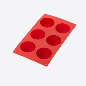 Lékué bakvorm uit silicone voor 6 muffins rood Ø 6.9cm H 4cm