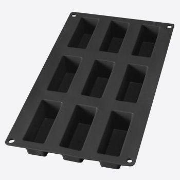 Lékué bakvorm uit silicone voor 9 rechthoekige cakejes zwart 8x3x3.3cm
