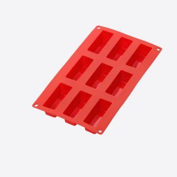Lékué bakvorm uit silicone voor 9 rechthoekige cakejes rood 8x3x3.3cm