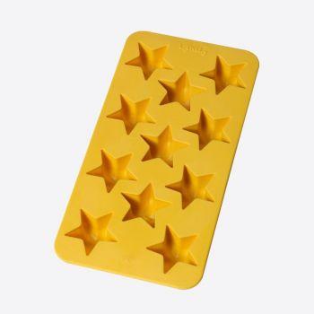 Lékué ijsblokjesvorm uit rubber voor 11 ijsblokjes sterren geel 22x11x2.3cm