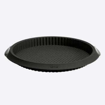 Lékué geribde taart-/quichevorm uit silicone met gaten zwart Ø 28cm H 3.2cm