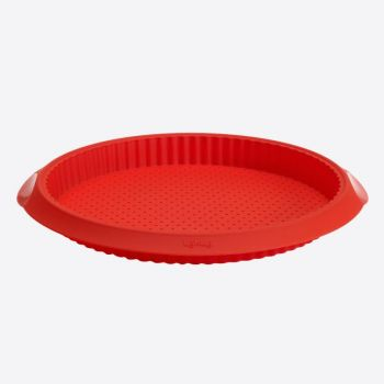 Lékué geribde taart-/quichevorm uit silicone met gaten rood Ø 28cm H 3.2cm