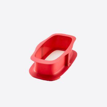 Lékué rechthoekige springvorm uit silicone rood met keramisch bord wit 24x14.4x7.6cm