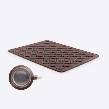 Lékué macaron set met Decomax deegspuit en bakmat uit silicone bruin 40x30x0.3cm