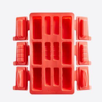 Lékué bakvorm voor 6 cilindervormige mini buches uit silicone rood 29x17x3.5cm