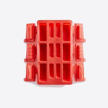 Lékué bakvorm voor 6 rechthoekige mini buches uit silicone rood 29x17x3.6cm