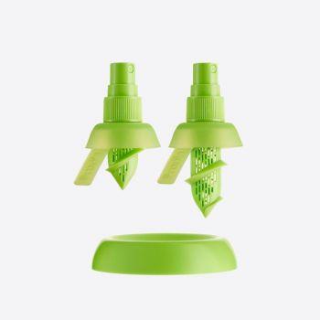 Lékué set van 2 citrussprays voor limoen en citroen groen Ø 4.3cm H 7.5cm en H 9.5cm