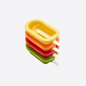 Lékué set van 4 mini ijsjesvormen rood; oranje; geel en groen 10.5x6.5x2.6cm