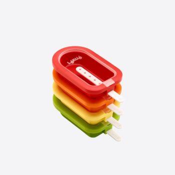 Lékué set van 4 ijsjesvormen rood; oranje; geel en groen 16.5x7.5x2.6cm