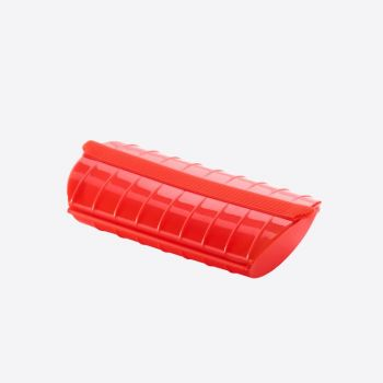 Lékué magnetron stomer voor 1-2 personen uit silicone rood 24x12.4x5cm