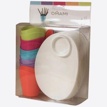 Omami set in 1 kleur van bord - glas 90ml & 10x lepels in 5 kleuren