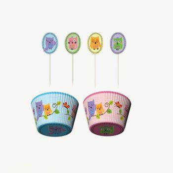 Point-Virgule set van 24 cupcakevormen en decoratie Owl pals