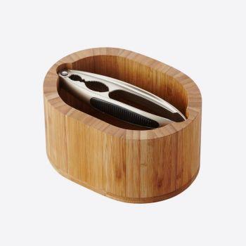 Point-Virgule notenkrakerset uit bamboe ovaal 16x12.5x8.5cm