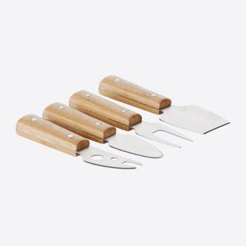Point-Virgule set van 4 kaasmessen uit bamboe
