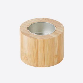 Point-Virgule kaarshouder uit bamboe voor theelichtje ø 7cm H 5cm