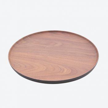 Point-Virgule rond dienblad houtlook uit bamboevezel bruin en zwart ø 27.9cm H 1.7cm