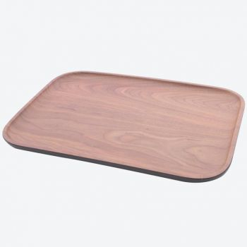 Point-Virgule rechthoekig dienblad uit bamboevezel houtlook bruin en zwart 36x25x1.4cm