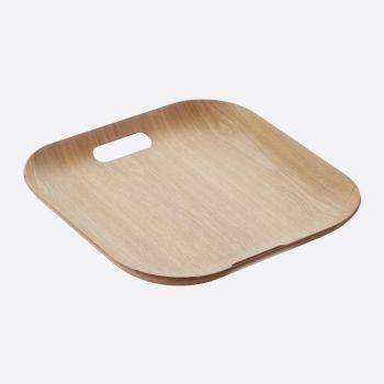 Point-Virgule vierkant dienblad met handgrepen houtkleur 39x39cm