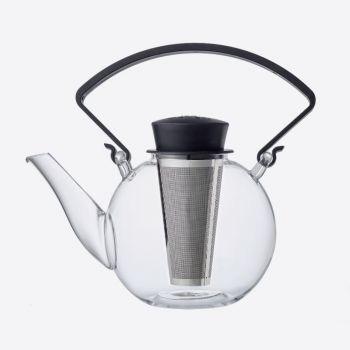 QDO theepot uit glas met clip handvat Tea 4 U zwart 1L